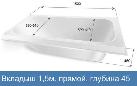 Акриловый вкладыш в ванну 1,5м., прямая