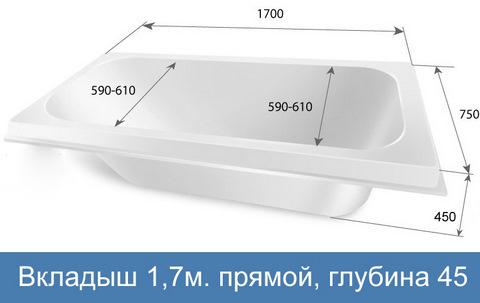 Акриловый вкладыш в ванну 1,7 прямой